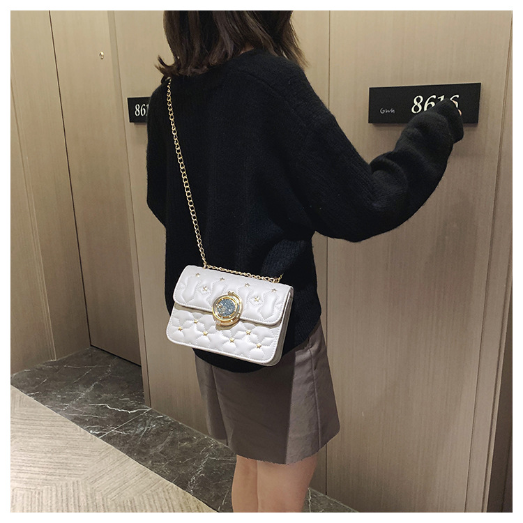 Simple starry embroidered thread chain bag simple wild fashion metal decoration messenger shoulder bag NHPB187101