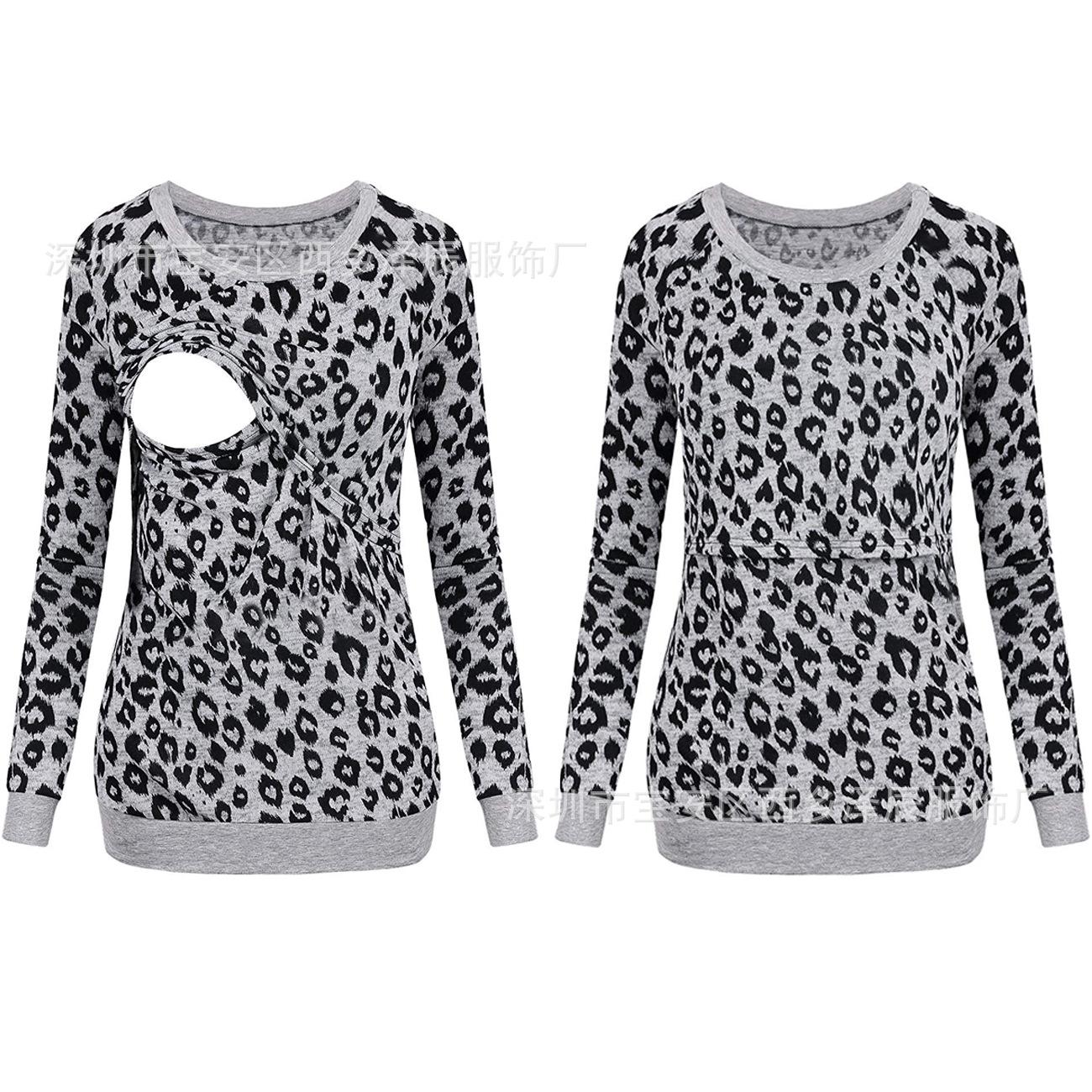亚马逊eBay爆款 欧美新款时尚豹纹长袖哺乳上衣 孕妇T恤 大量现货