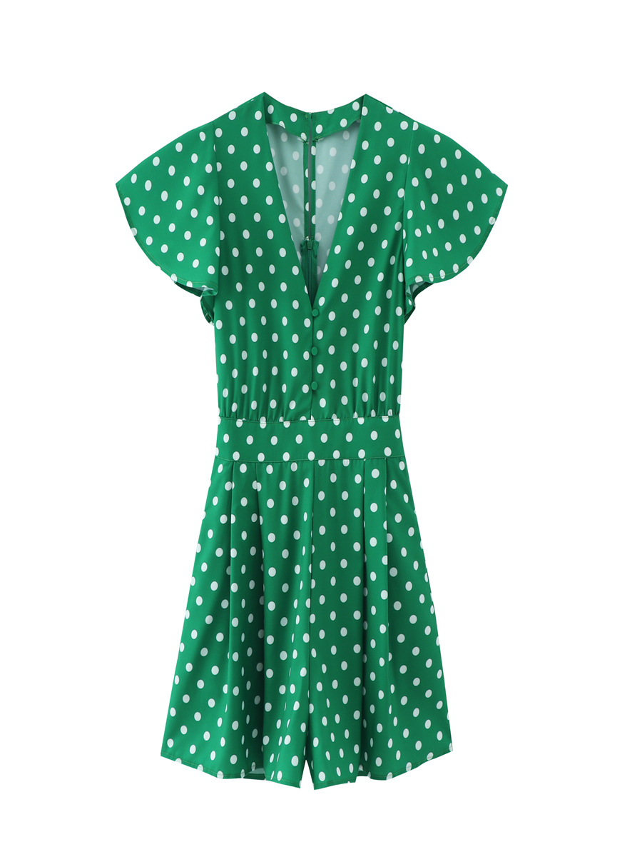 Green polka dot jumpsuit