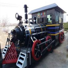 大型仿真复古蒸汽火车头模型美陈道具商业街区展示摆放活动展览