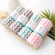 日韩风水纹阳离子高密珊瑚绒浴巾三件套礼盒装比纯棉吸水毛巾套装