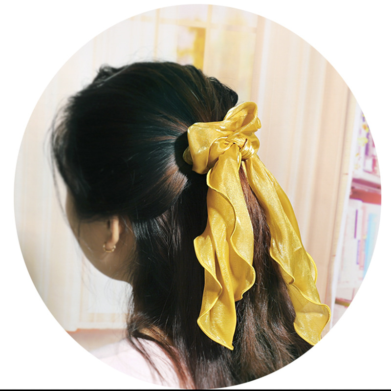 Pure color satin fabric streamer hair ring hair accessory plate hair large intestine hair rope NHDM190155
