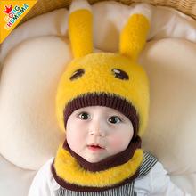 婴儿帽子秋冬新品6-24月男女宝宝毛绒帽加厚男童保暖围巾儿童帽子