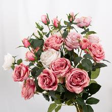 仿真玫瑰花套裝花束假花玫瑰花客廳餐桌擺件花藝插花干花擺設裝飾