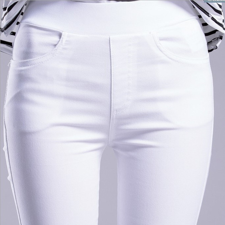 2019 Spring And Autumn New Large Size Black Feet Pants High Waist Stretch Pencil Pants Tight Outside Wearing Leggings Women's Trousers