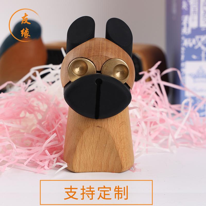 厂家定制榉木木质工艺品木雕摆件生肖狗实木工艺品 家居