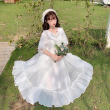 實拍日系lolita歐根紗V領刺繡蕾絲七分袖長裙大擺連衣裙輕花嫁