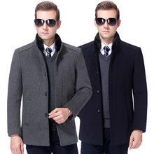 秋冬品牌加厚大衣立领羊绒夹克中老年水貂毛领爸爸装男士外套男装