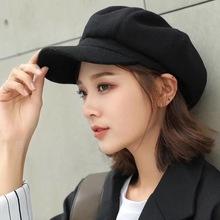 韩版纯色毛呢贝雷帽子女学生秋冬时尚八角帽南瓜蓓蕾帽户外画家潮