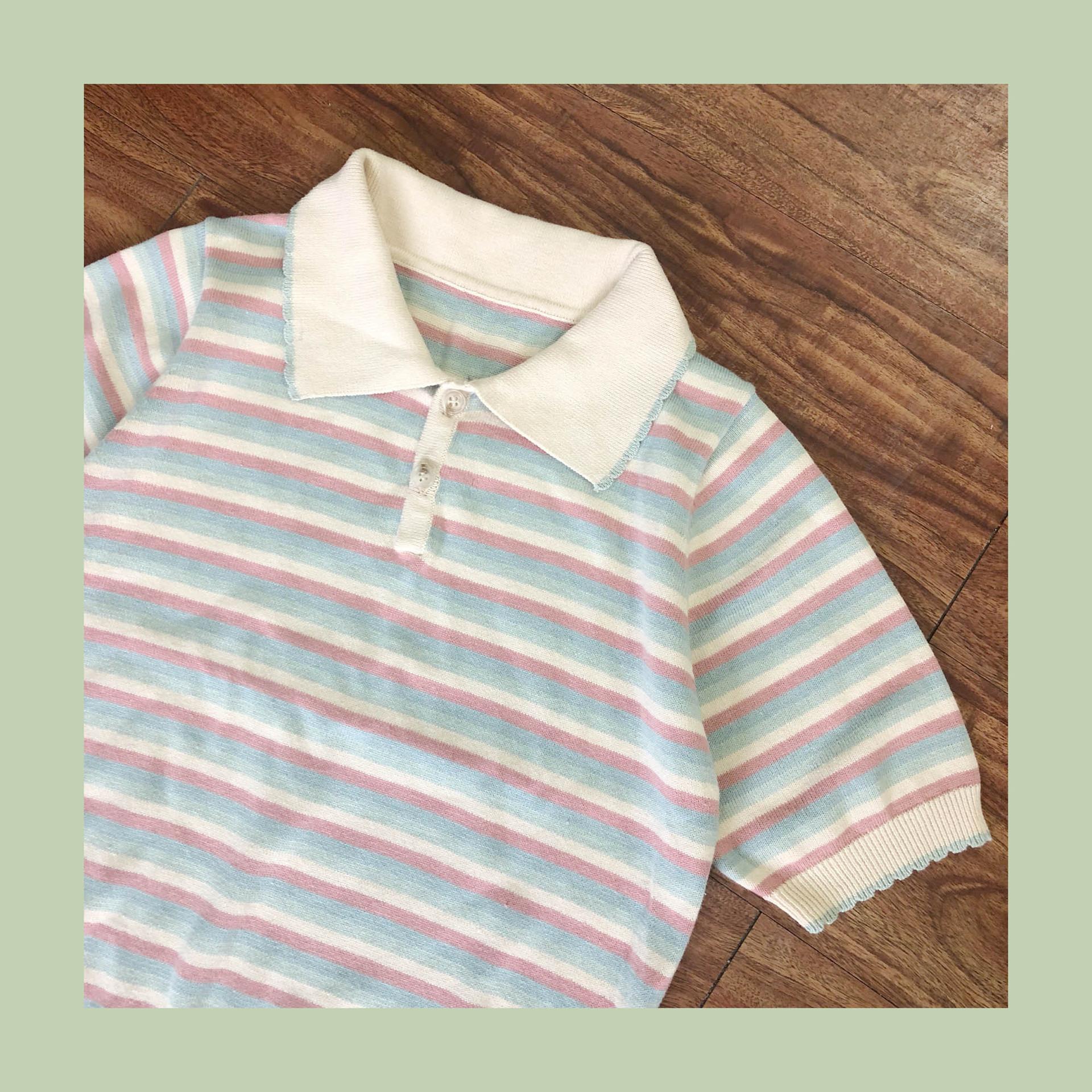2019春新品彩色条纹短袖高腰纯棉针织衫