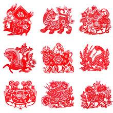 十二生肖剪纸画手工出国小礼物中国特产礼品送老外窗花玻璃贴礼物