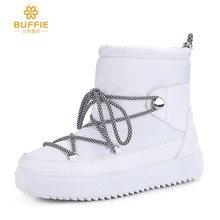 九色雪花纯白色雪地靴 女棉鞋 平底防滑 帮面防泼水 羊毛内里保暖