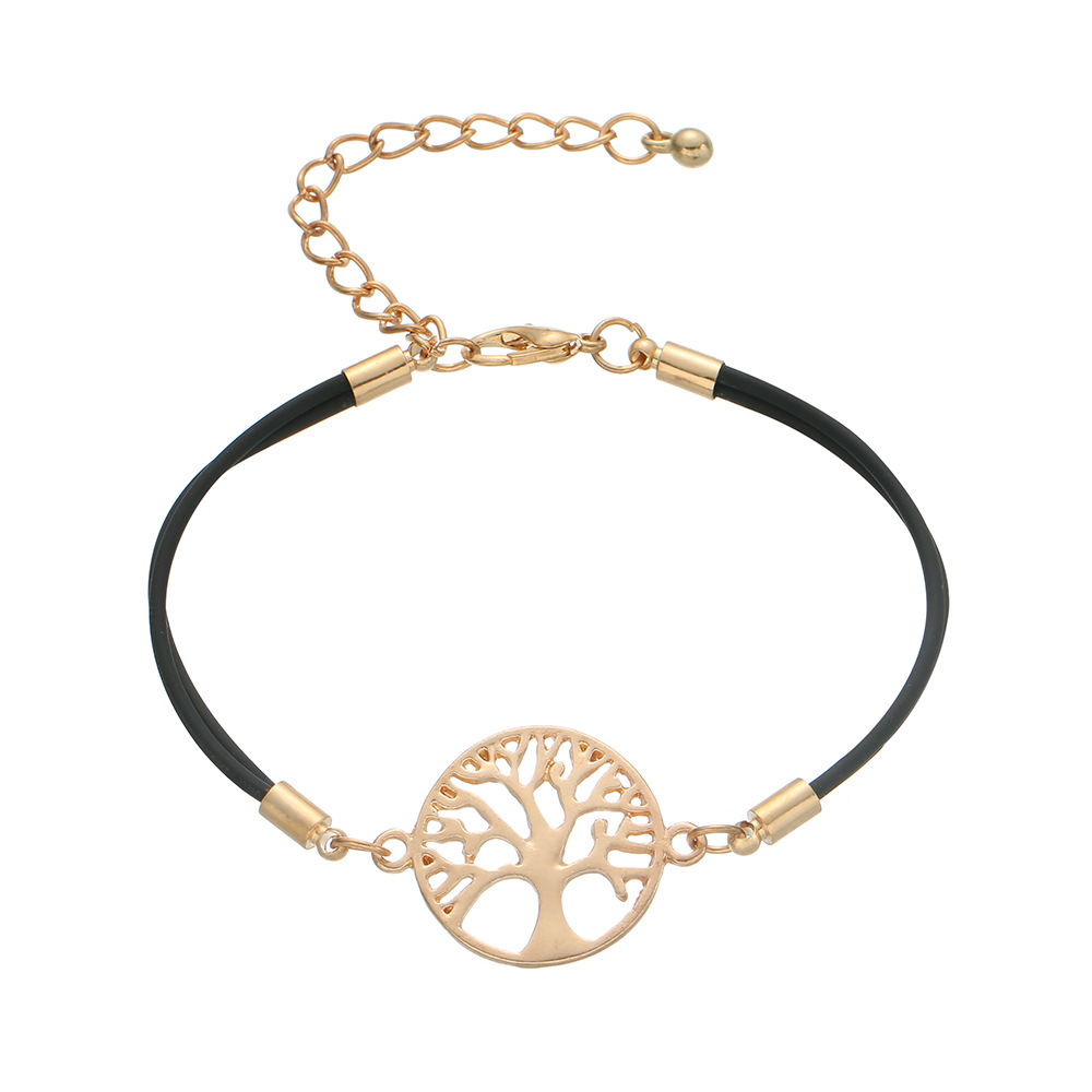 Simple alloy life tree braided bracelet NHHN154668