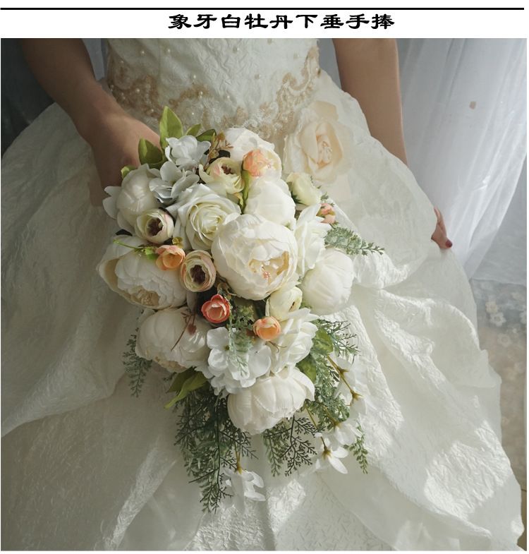 Wedding Bridal Bouquets Waterfall White Wedding Flowers Bridal Bouquets Artificial Pearls Crystal Wedding Bouquets Bouquet De Mariage Rose