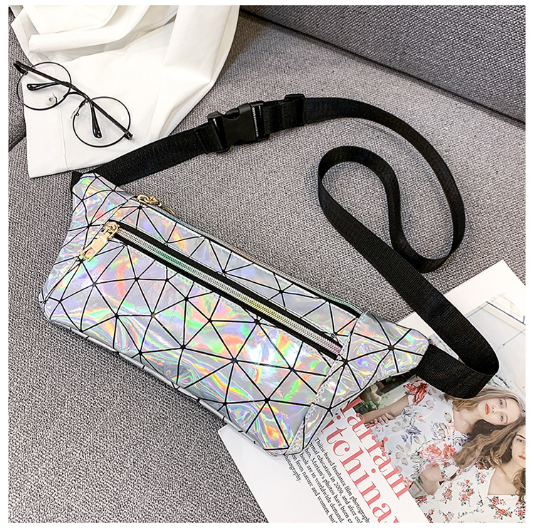Fashion personality cool cool laser bright bright rhomboid chest bag NHLD121192