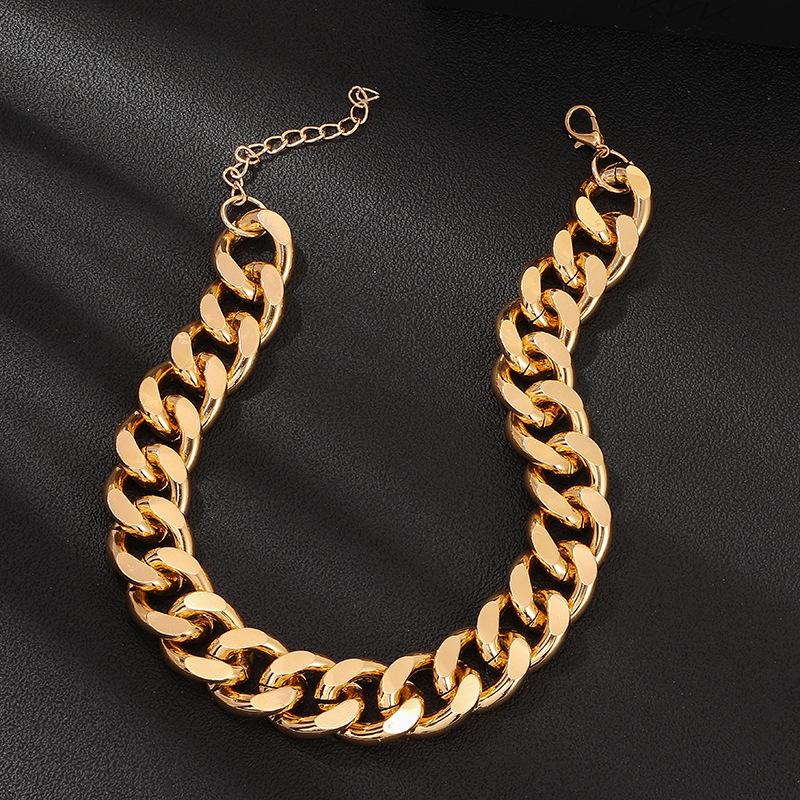 Personnalit de la mode chane paisse collier rtro punk en aluminium collier chane hommes et femmes hip hop en gros mode NHNZ180815