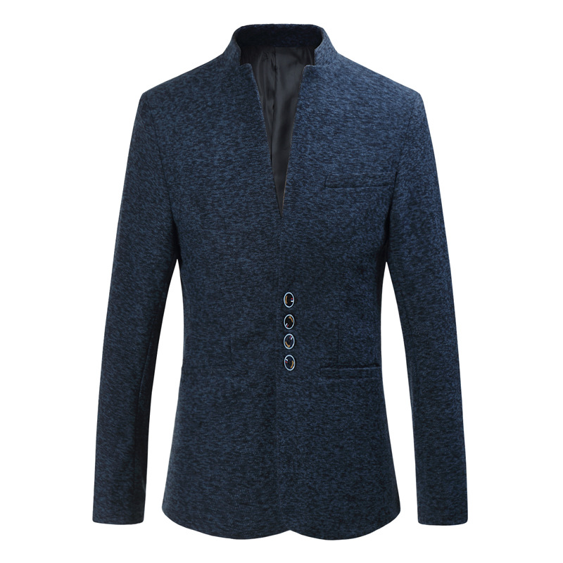 Autumn and winter new men's solid color stand collar large size suit