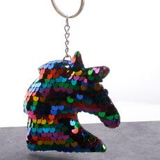 Creative doublesided reflective sequin hummingbird keychain wholesale NHDI340618