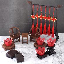 中國風甜品臺擺件中式古典餅干掛架紙杯蛋糕底座迷你家具擺件