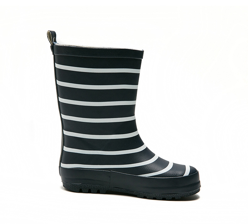 BAILI K002 Kids Rubber Striped Rain Boots - Red / Navy for Boys and Girls 20