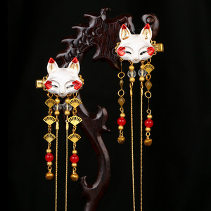 chinese hanfu hair accessory for girls Ancient hair ornament Chinese Hanfu element headdress Chinese hanfu accessories cute heart fox animal tassel ancient hairpin pair clip