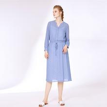 19跨境代发秋冬新款时尚气质通勤女装 V领印花长袖蓝色绑带连身裙