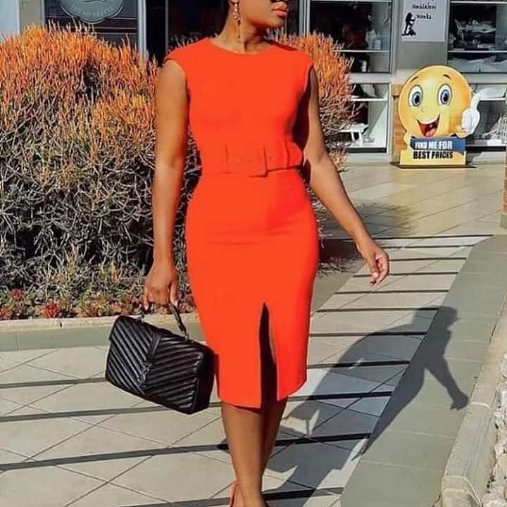 African dress cross border women's dress wish Amazon solid color sleeveless split Tongle dress with belt dr034