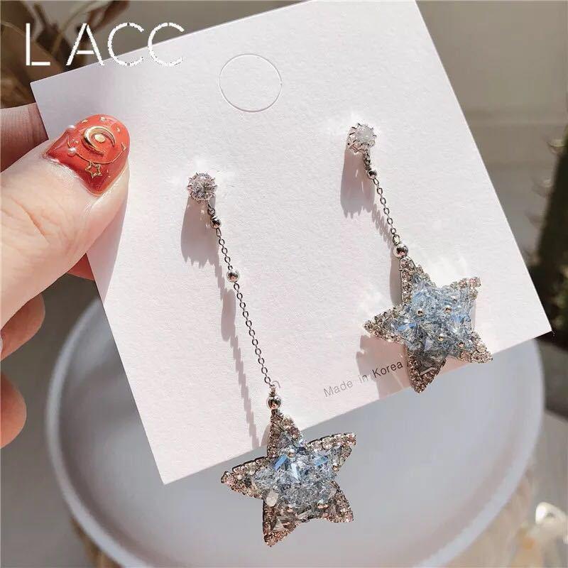 S925银针韩国韩版透明灰水晶不对称五角星气质长耳环耳坠饰品