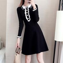 针织衫女黑色连衣裙 秋冬 中长款小香风新款女式打底A字毛衣裙子
