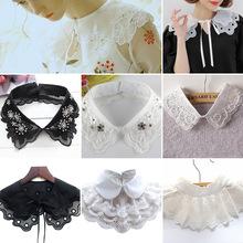 夏季韓版假領子女襯衫裝飾假領百搭小披肩系帶白色襯衣秋冬假衣領