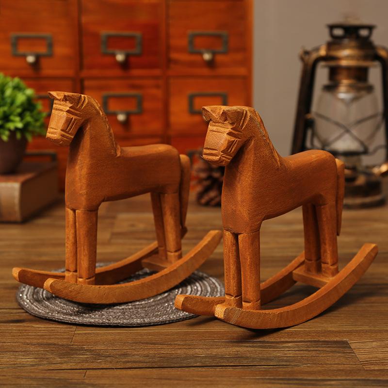 zakka木马摆件 办公室桌面装饰品木质手工艺术品橱窗摆件儿童玩具