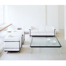 不锈钢皮制办公室沙发扶手椅现代时尚商务接待椅LC2 sofa