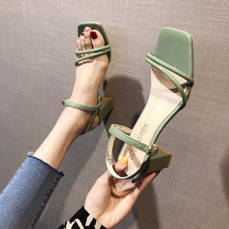d1457a242 Fairy style high heels fashion sandals straps women's shoes 2019 summer new  thick with heel shoes ins trend