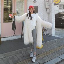 仿皮草加厚大衣保暖滩羊毛风衣新皮草卷卷毛长大衣卷羊毛皮草外套