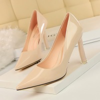 7716-1 Korean fashionable slim high-heeled shoes transparent heel super high-heeled lacquer shallow pointed sexy single shoes