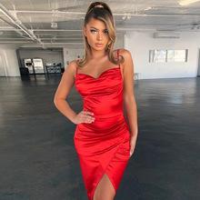 歐美外貿爆款2019秋冬女裝速賣通跨境新款時尚吊帶連衣裙一件代發