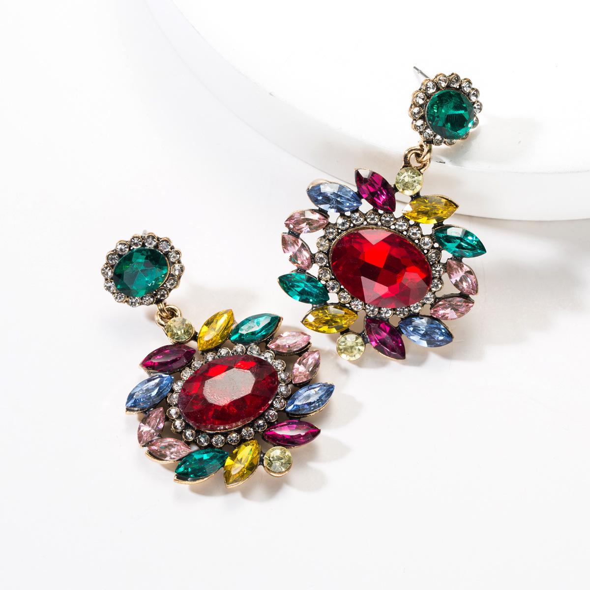 Multi-layer oval flower acrylic full rhinestone earrings NHJE142062