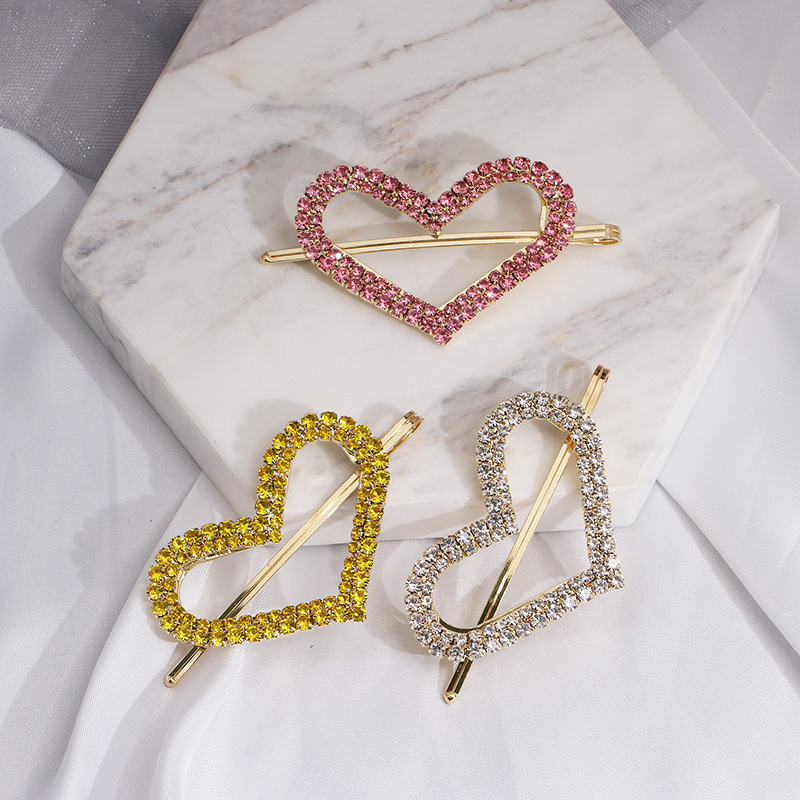 Womens HeartShaped Wind candy color rhinestone  Beads Hair Accessories JJ190505120191