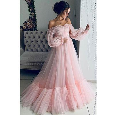 European And American Women's Dress One Shoulder Mesh Long Sleeve Wedding Dress Big Swing Dress