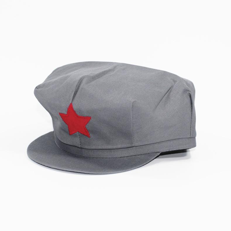 红军帽八角帽复古五角星帽灰色军帽八路军新四军帽演出表演帽子