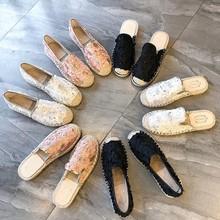 2019春秋季蕾絲平底漁夫鞋女新款草編鞋鏤空百搭樂福鞋女單鞋代發
