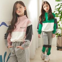女童秋季套裝2019新款韓版洋氣拼色衛衣中大童兩件套秋裝一件代發