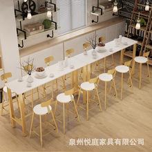 北歐咖啡廳吧臺大理石吧臺桌椅組合 現代簡約酒吧奶茶店隔斷吧臺