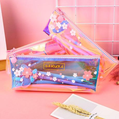 Túi đựng bút laser công suất lớn, hộp đựng bút chì mát mẻ dành cho học sinh nhỏ màu hồng tươi trong suốt.