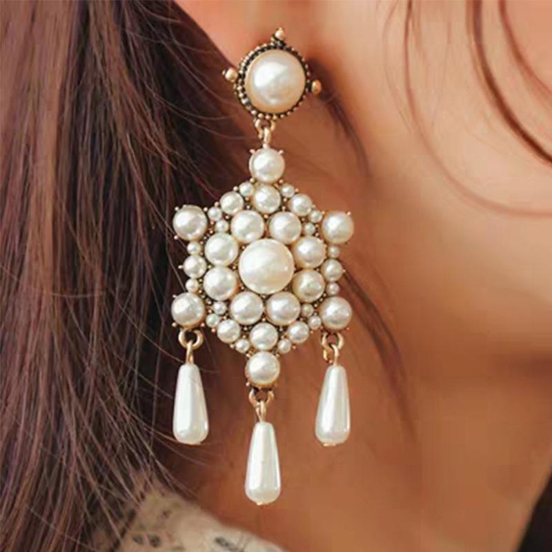 Pearl Earrings Vintage Luxury Earrings Simple Geometry NHJQ171220