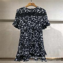 2019夏季新款裙摆和袖子浪漫双层荷叶边前襟一天镂空蕾丝边修身
