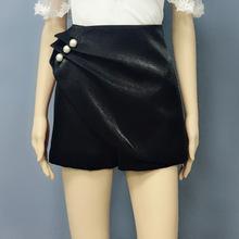 2020春夏新款高端韓版氣質黑色時尚釘珠高腰不規則防走光裙褲短褲