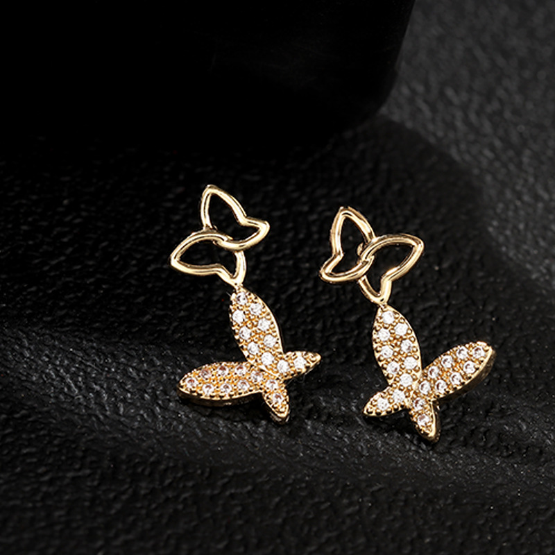 Earrings fashion exquisite hollow butterfly earrings set with zircon high quality earrings jewelry NHNZ173369