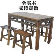 一件代發家具實木餐桌長方桌條桌柏木四人桌飯桌小吃面館快餐桌子