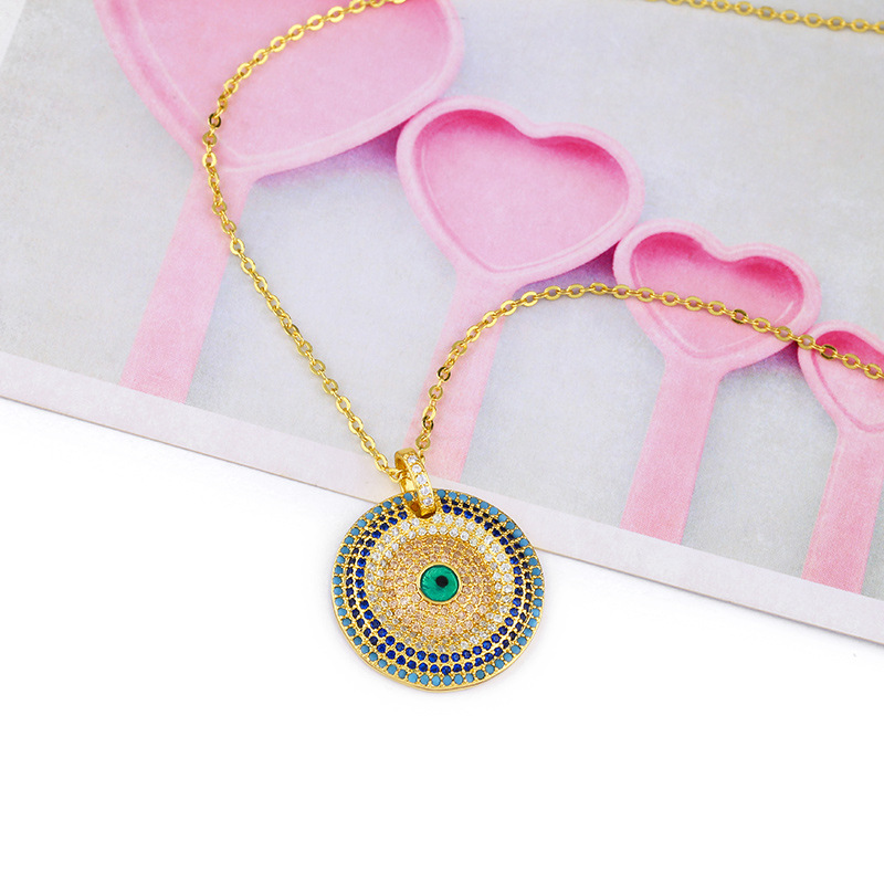 Womens Devils Eye with Zircon Copper Plated 18K Alloy Simple Necklaces NHAS120864